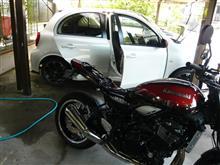 洗車とチェーンの清掃、給油