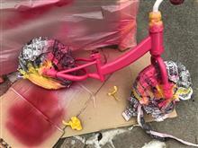 子供のチャリ塗装!ピンク仕様。