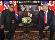 米朝首脳会談、両国の国旗はよく似ている