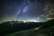星空タイムラプス  北アルプス穂高・槍ヶ岳 7月7日 想像してご覧ください。
