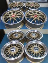 BBS-RGR18インチ&RG15インチ/1Ps鍛造パウダーゴールド&ポリッシュ/フルパウダーコートx2台