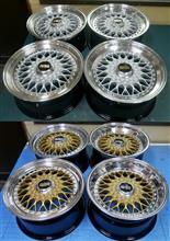 BBS-RS16インチ/リム修理シルバー&ゴールド/リムBBFバフ&バレル研磨パウダークリアーリフレッシュ・リメークx2台