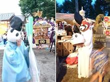 とある神社の夏祭り… パンダ宮司とレッサーパンダ宮司の居る光景