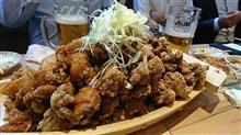 鶏唐揚げの大バカ盛で開店を祝う
