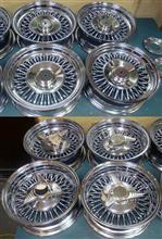 マクリーン&ロードスター13インチ/ワイヤーホイール鉄メッキ曲り修理バレル研磨パウダーアクリルクリアーコーティング