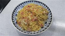 今日のお昼はベーコンと玉葱のスパゲッティ