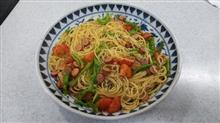 9月17日のお昼はトマトと万願寺唐辛子のスパゲッティ