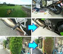 朝はチャリチャリ、枝を切り切り、バイクをイジイジ、---