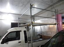 単管パイプでガレージの簡易ロフト製作