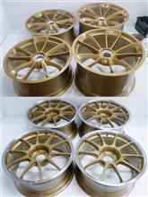 ポルシェ純正20インチ1Psパウダーゴールド丸塗りとweds18インチ1Psパウダーゴールド丸塗りからのリムポリッシュ