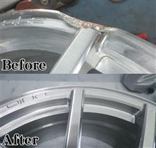 AGIO(アジオ)19インチ/リム潰れ割れ修理再ブラッシュド/パウダーアクリルクリアー