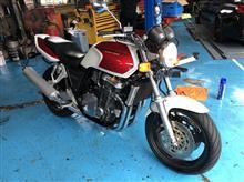 今日は台風なのでバイクの車検整備!!CB1000SF!!