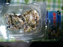 昨日、能登で買った牡蠣を・・・。