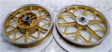 二輪バイク鋳造ホイール/リム修理パウダーゴールド&リムポリッシュ/パウダーアクリルクリアー/フルパウダーコート