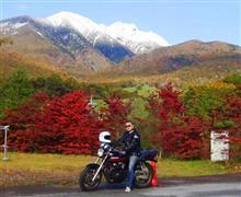 青空と雪山と紅葉と漢カワサキ♪