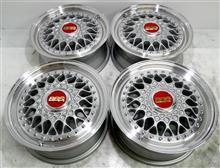 激レアBBS-RS14インチ曲り修理パウダーシルバー&ポリッシュパウダーアクリルクリアー社外6角クオーターキャップフルパウダーコート