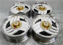 SSRヒロレーシング15インチ/クロームメッキ剥離パウダーパールホワイトポリッシュフルパウダーコート