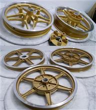 バイク二輪ホンダ純正&BEET鋳造ホイール/パウダーゴールド&ポリッシュパウダーアクリルクリアーフルパウダーコートx2セット