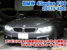 BMW 4シリーズグランクーペ(F36) アンビエントライト機能付LEDフットライト装着とTVキャンセルなどコーディング施工