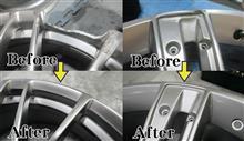 BREYTON20インチ大きな欠け修理ハイパー塗装DBKとエスカレード26インチ大きな曲り割れ修理シルバーメタ調色塗装