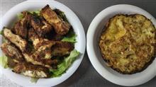 今日の晩御飯は、スペイン風オムレツとチキンカツレツです。