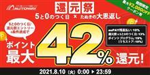 【AUTOWAY】本日auPAYマーケット店ポイント最大42%!!【還元祭x5と0のつく日】