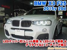 BMW X3(F25) LEDナンバー灯ユニット装着&フロントウインカー/リアウインカー/バックライトLEDバルブ装着とコーディング施工