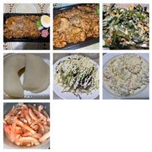 牛カルビ焼肉重+野菜サラダ+ポテトサラダ+梨+大根と明太子。