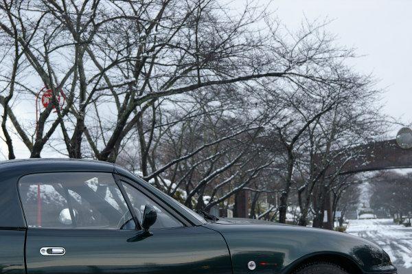 ロードスターと冬景色