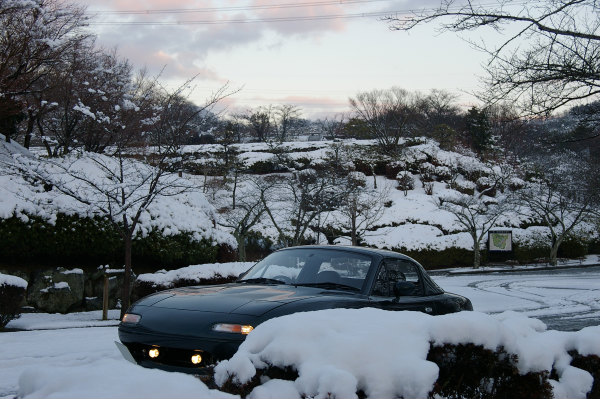 朝の雪とロードスター