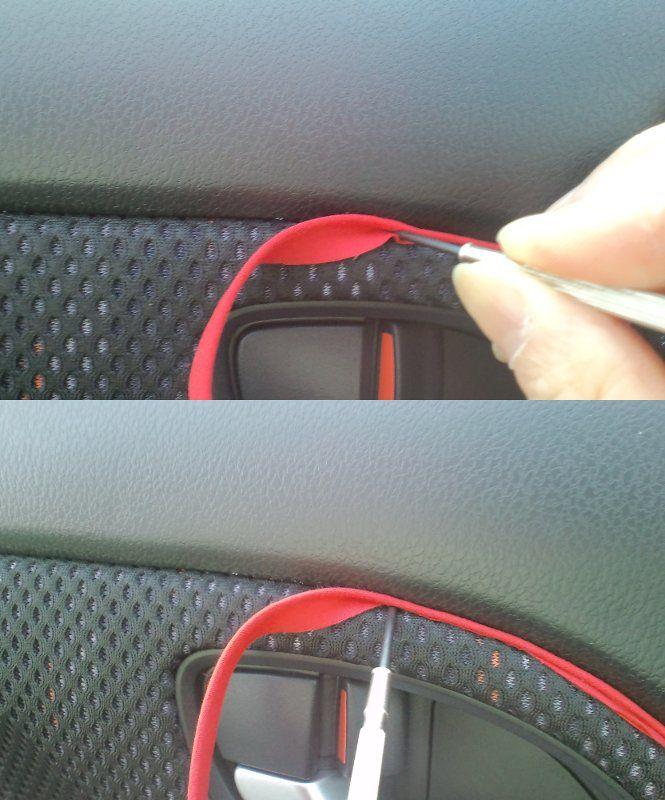 ドア内装に赤いラインを施工