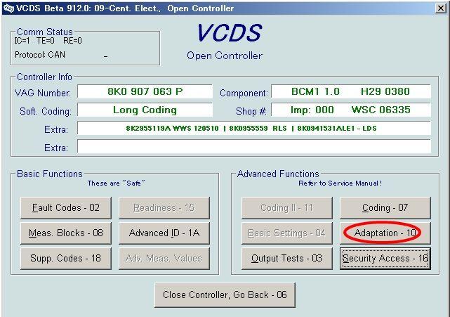 VCDS MMI 3G コーディング 【ポジション 光量調整】