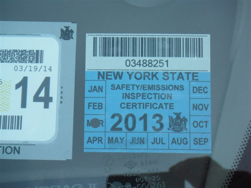 New York State Inspection Sticker 2013