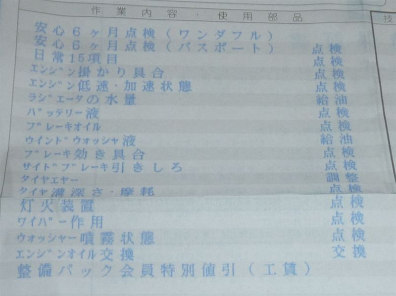 1年半点検(覚え書き)