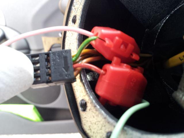 ホーンボタン配線加工