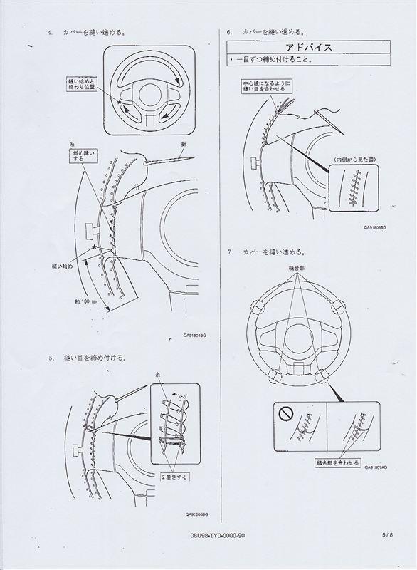 覚え書き。ステアリングカバーの縫い方。(ディーラーからいただいた手順書)