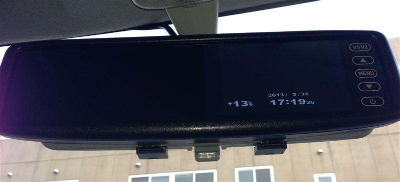 自作 時計 & 外気温をルームミラーに映してみた2