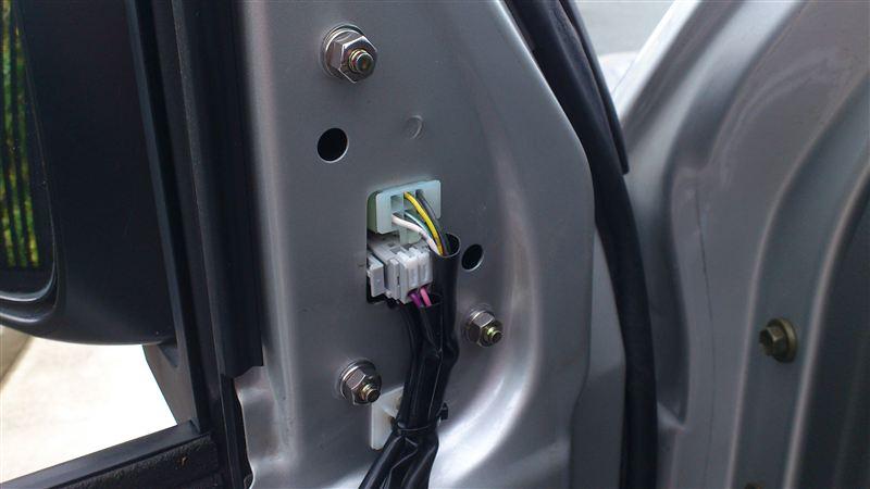 電動ミラー(LEDウインカー、ミラーヒータ付き)の取付①