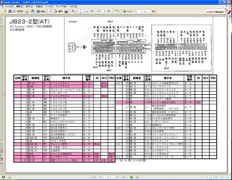 JB23-2型ATのECU配線図