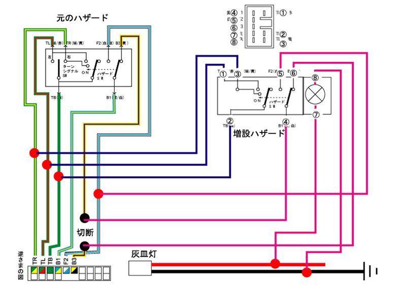 JBx3型前期 増設ハザードSW(4端子スイッチの場合)