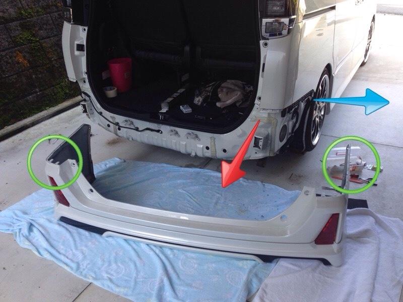 Junack LED リフレクター&トランスライティングKIT取付 リヤバンパー取り外し作業①