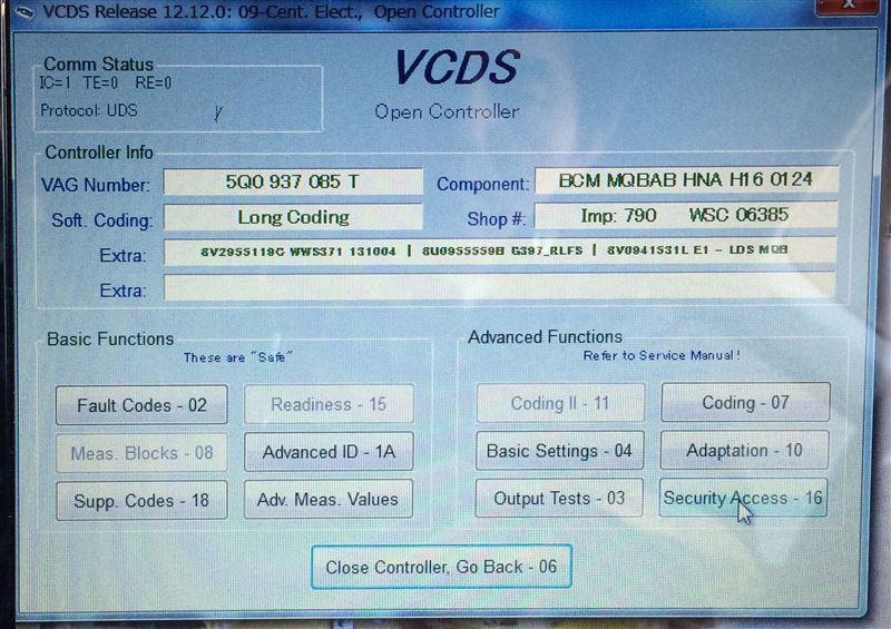 AUDI A3sedan VCDS コーディング4 ポジションLEDのデイライト化(DRL)
