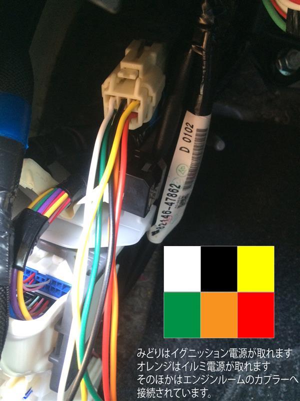 車内からエンジンルームへ配線