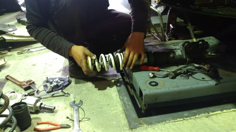 TEIN油圧式車高調ピロアッパー化とHKSスプリングに交換!