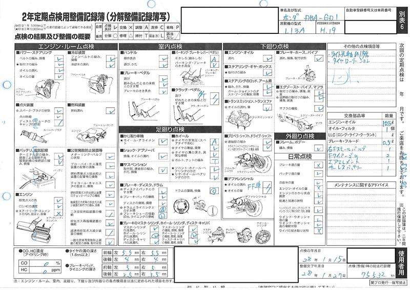 自家用貨物車の12か月定期点検用整備記録簿 -先日 …