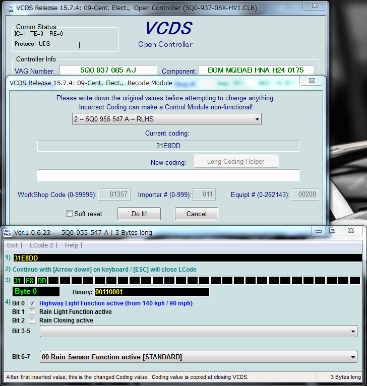 VCDS 15.7.4: ライトの140km/h点灯をキャンセル