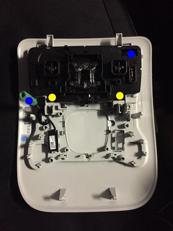 オーバーヘッドコンソールの外し方(ランプ交換)