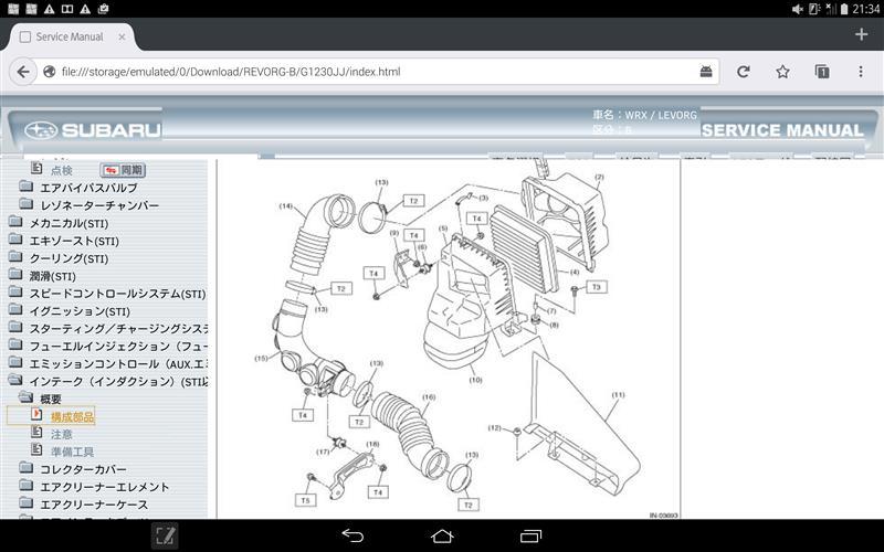 レヴォーグのサービスマニュアルをタブレットで使う方法