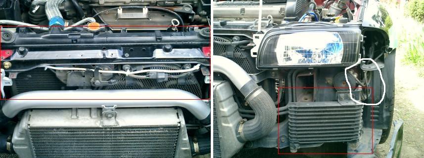 ABSユニット除去、サイドタンク式オイルクーラー交換等