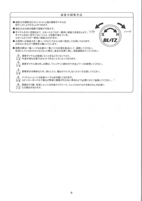 BLITZ DAMPER ZZ-R 取扱説明書その1
